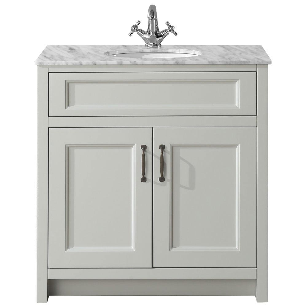 Chatsworth Grey 810mm Vanity with Marble Basin Top profile large image view 2