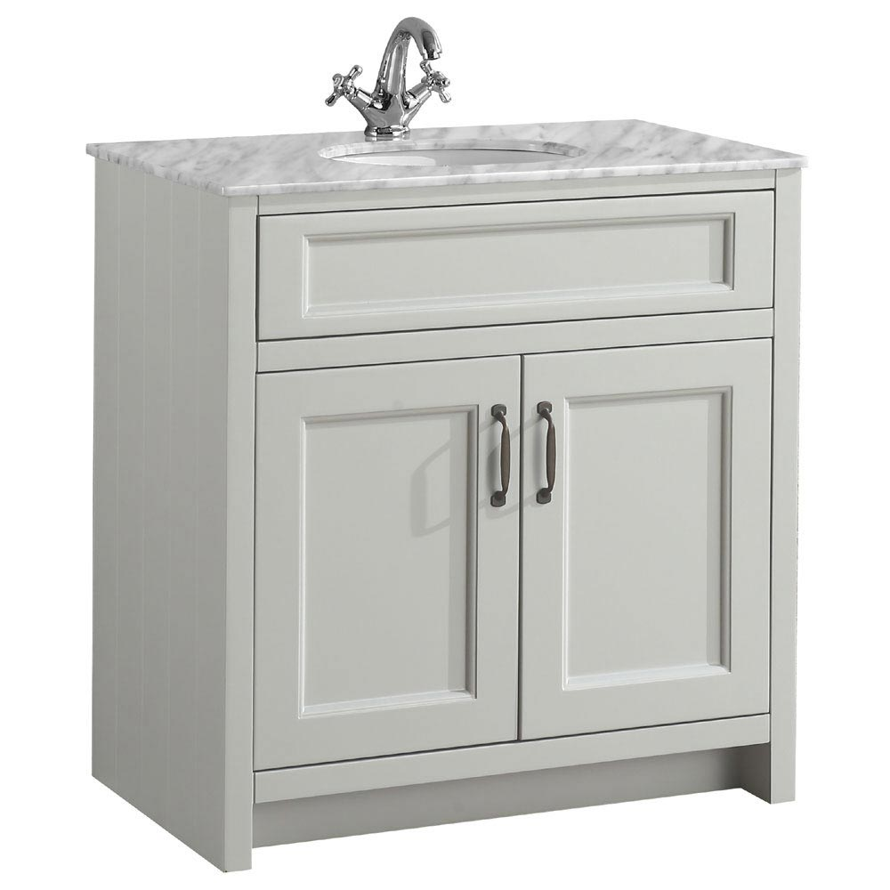 Chatsworth Grey 810mm Vanity with Marble Basin Top Large Image