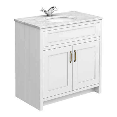 Chatsworth White 810mm Vanity with White Marble Basin Top