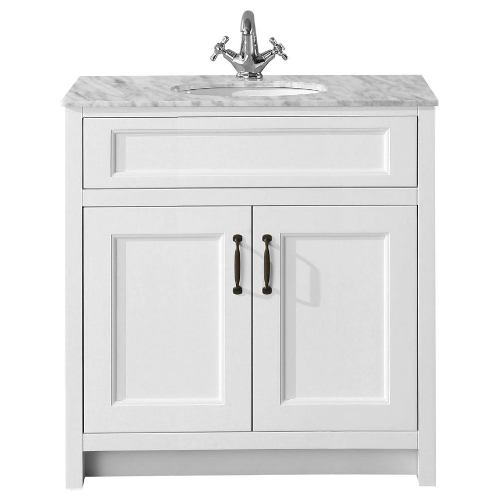 Chatsworth White 810mm Vanity with Marble Basin Top  Profile Large Image