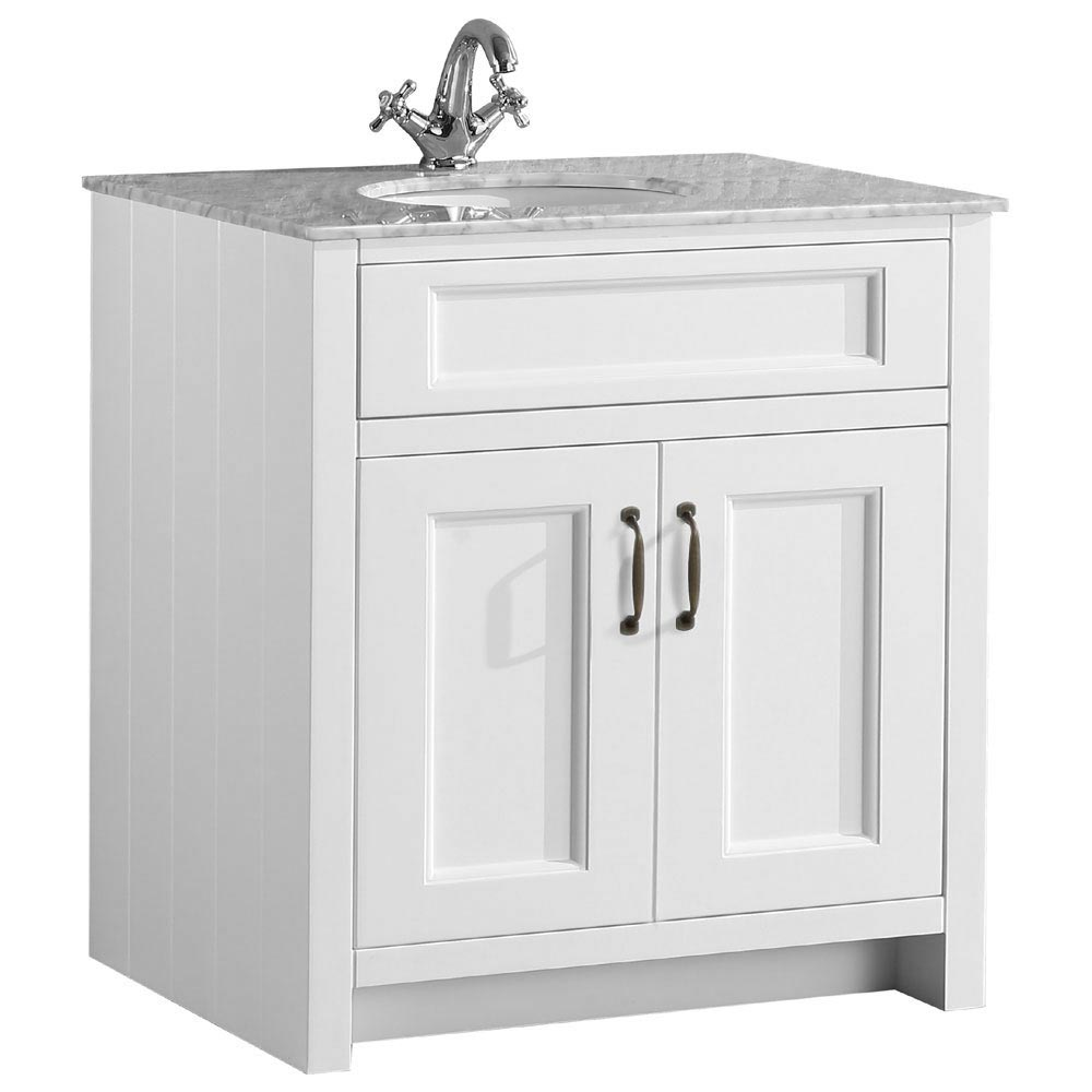 Chatsworth White 810mm Vanity with Marble Basin Top Large Image