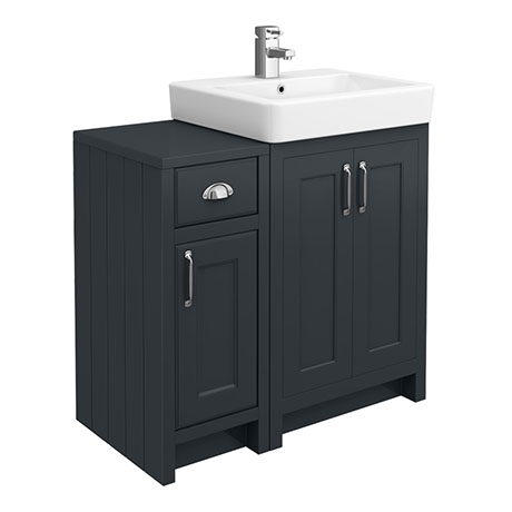 Chatsworth Traditional Graphite 560mm Vanity Sink + 300mm Cupboard Unit