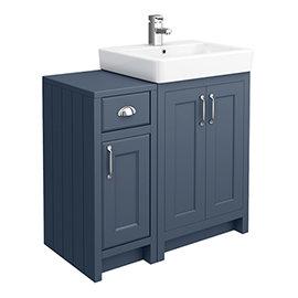 Chatsworth Traditional Blue 560mm Vanity Sink + 300mm Cupboard Unit