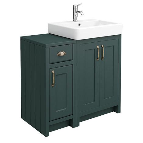 Chatsworth Traditional Green 560mm Vanity Sink + 300mm Cupboard Unit
