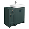 Chatsworth Traditional Green 560mm Vanity Sink + 300mm Cupboard Unit profile small image view 1