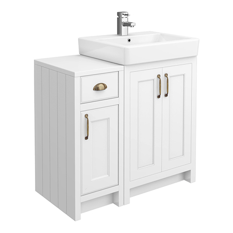 Chatsworth Traditional White 560mm Vanity Sink + 300mm Cupboard Unit