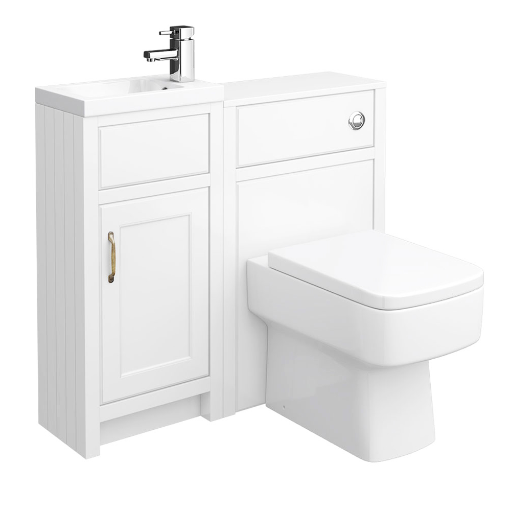 Chatsworth Traditional Cloakroom Vanity Unit Suite - White