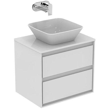 Ideal Standard Concept Air 600mm Wall Hung 2 Drawer Vanity Unit & Worktop - Gloss White/Matt White