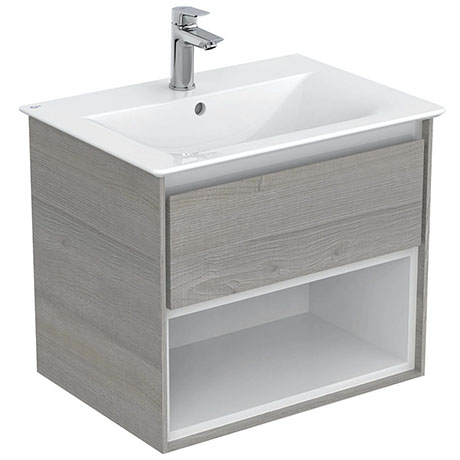 Ideal Standard Concept Air Wood Light Grey 600mm Wall Hung Vanity Unit with Open Shelf