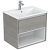 Ideal Standard Connect Air Wood Light Grey 600mm Wall Hung Vanity Unit with Open Shelf profile small image view 1