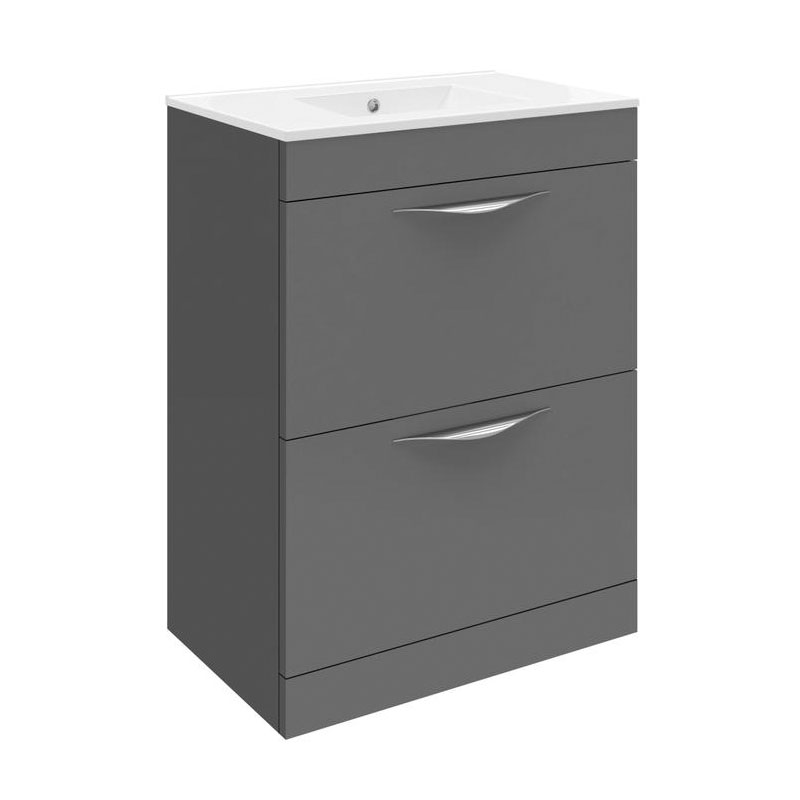 Hudson Reed Memoir 600mm 2 Drawer Floor Mounted Basin & Cabinet - Gloss Grey - 2 Basin Options Large Image