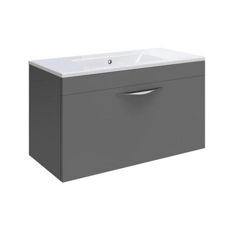 Hudson Reed Memoir 600mm 1 Drawer Wall Mounted Basin & Cabinet - Gloss Grey - 2 Basin Options