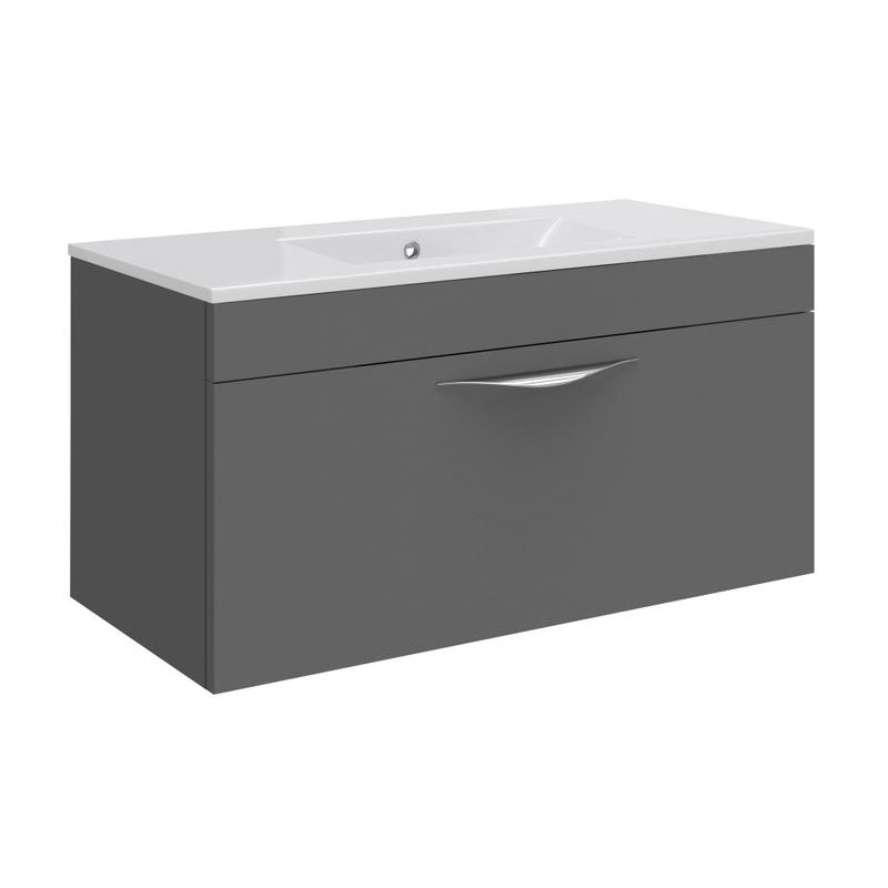 Hudson Reed Memoir 800mm 1 Drawer Wall Mounted Basin & Cabinet - Gloss Grey - 2 Basin Options profile large image view 1