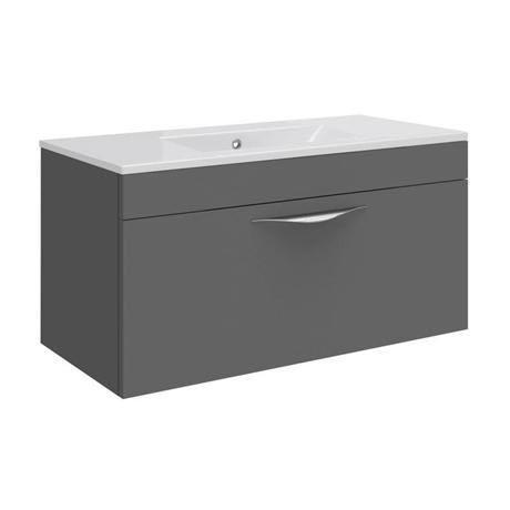 Hudson Reed Memoir 800mm 1 Drawer Wall Mounted Basin & Cabinet - Gloss Grey - 2 Basin Options