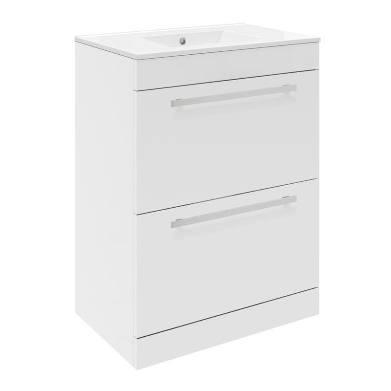 Ultra Design 600mm 2 Drawer Floor Mounted Basin & Cabinet - Gloss White - 2 Basin Options Large Image