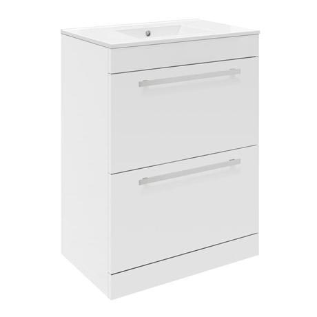 Ultra Design 600mm 2 Drawer Floor Mounted Basin & Cabinet - Gloss White - 2 Basin Options
