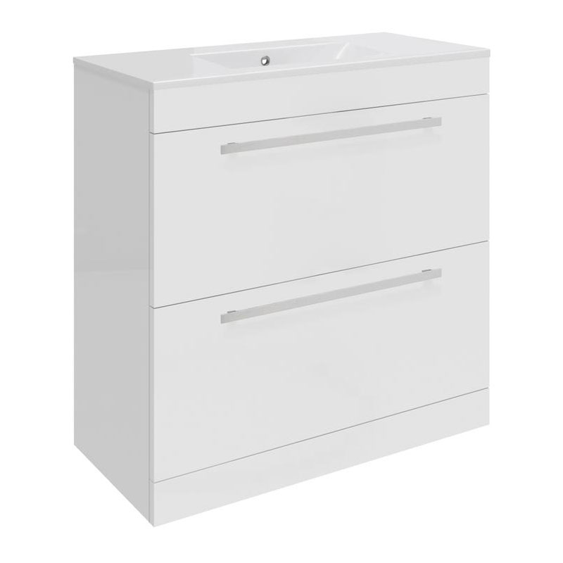Ultra Design 800mm 2 Drawer Floor Mounted Basin & Cabinet - Gloss White - 2 Basin Options Large Image