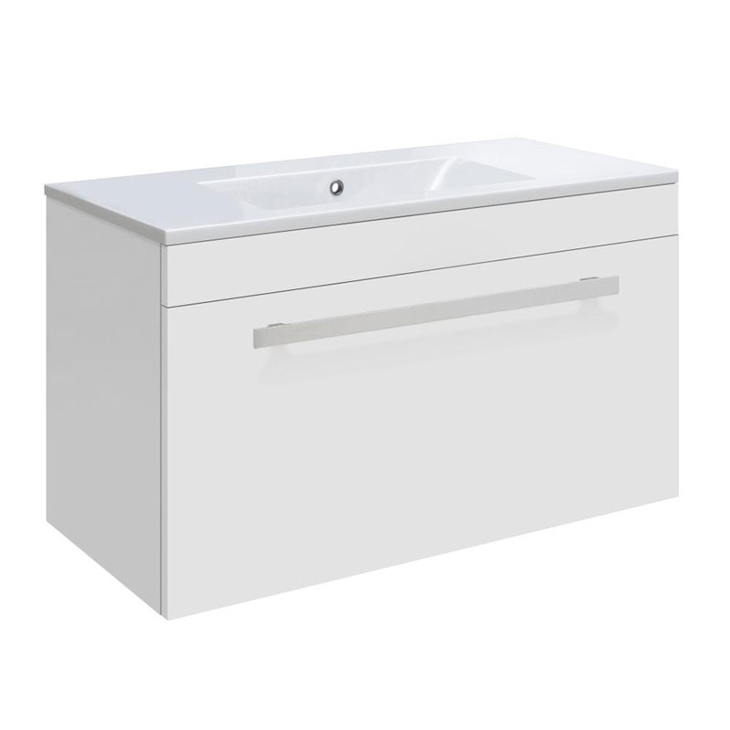 Ultra Design 600mm 1 Drawer Wall Mounted Basin & Cabinet - Gloss White - 2 Basin Options Large Image