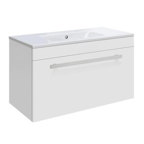 Ultra Design 600mm 1 Drawer Wall Mounted Basin & Cabinet - Gloss White - 2 Basin Options