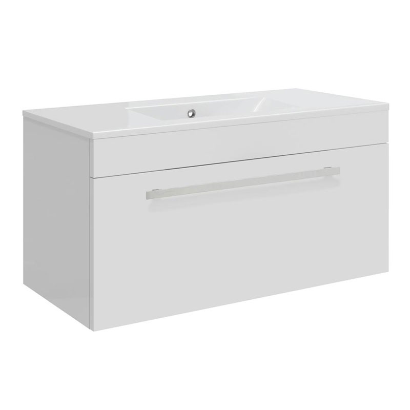 Ultra Design 800mm 1 Drawer Wall Mounted Basin & Cabinet - Gloss White - 2 Basin Options Large Image