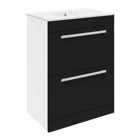 Ultra Design 600mm 2 Drawer Floor Mounted Basin & Cabinet - Gloss Black - 2 Basin Options