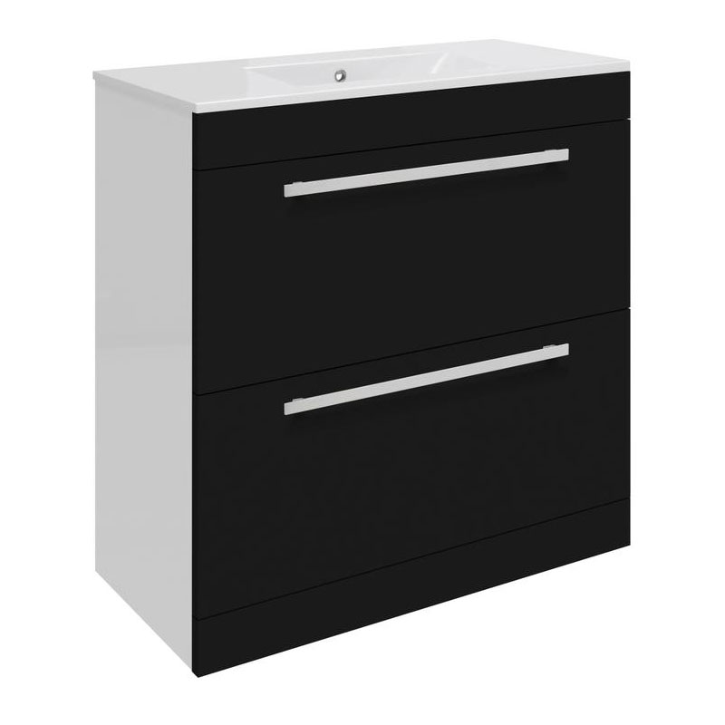 Ultra Design 800mm 2 Drawer Floor Mounted Basin & Cabinet - Gloss Black - 2 Basin Options profile large image view 1