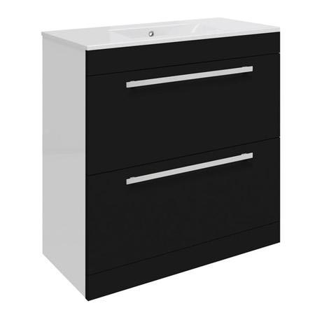 Ultra Design 800mm 2 Drawer Floor Mounted Basin & Cabinet - Gloss Black - 2 Basin Options