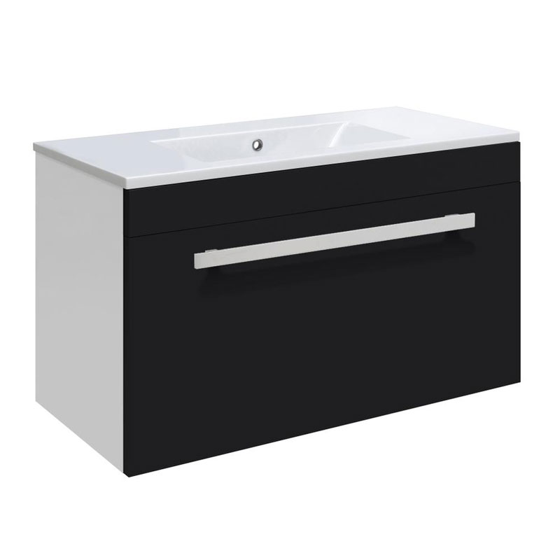 Ultra Design 600mm 1 Drawer Wall Mounted Basin & Cabinet - Gloss Black - 2 Basin Options Large Image