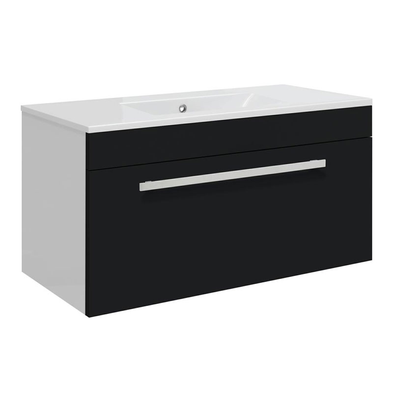 Ultra Design 800mm 1 Drawer Wall Mounted Basin & Cabinet - Gloss Black - 2 Basin Options Large Image