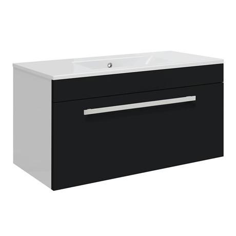 Ultra Design 800mm 1 Drawer Wall Mounted Basin & Cabinet - Gloss Black - 2 Basin Options
