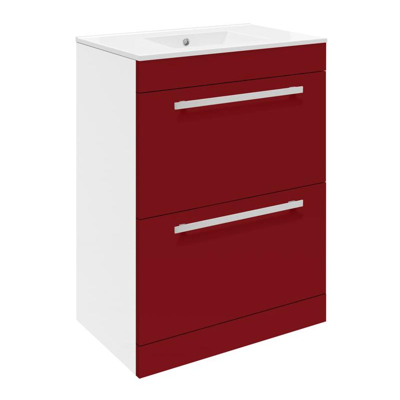 Ultra Design 600mm 2 Drawer Floor Mounted Basin & Cabinet - Gloss Red - 2 Basin Options Large Image