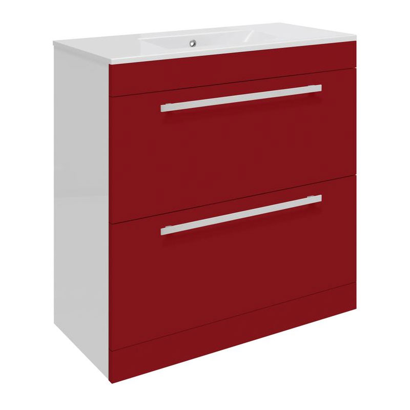 Ultra Design 800mm 2 Drawer Floor Mounted Basin & Cabinet - Gloss Red - 2 Basin Options Large Image