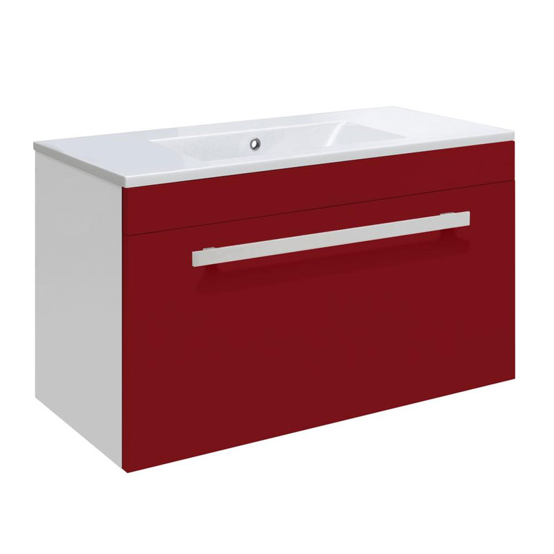Ultra Design 600mm 1 Drawer Wall Mounted Basin & Cabinet - Gloss Red - 2 Basin Options Large Image