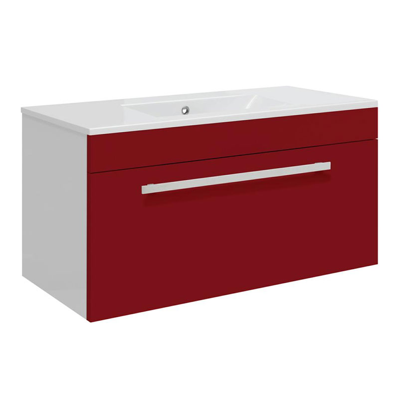 Ultra Design 800mm 1 Drawer Wall Mounted Basin & Cabinet - Gloss Red - 2 Basin Options Large Image