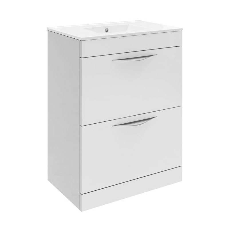 Hudson Reed Memoir 600mm 2 Drawer Floor Mounted Basin & Cabinet - Gloss White - 2 Basin Options profile large image view 1