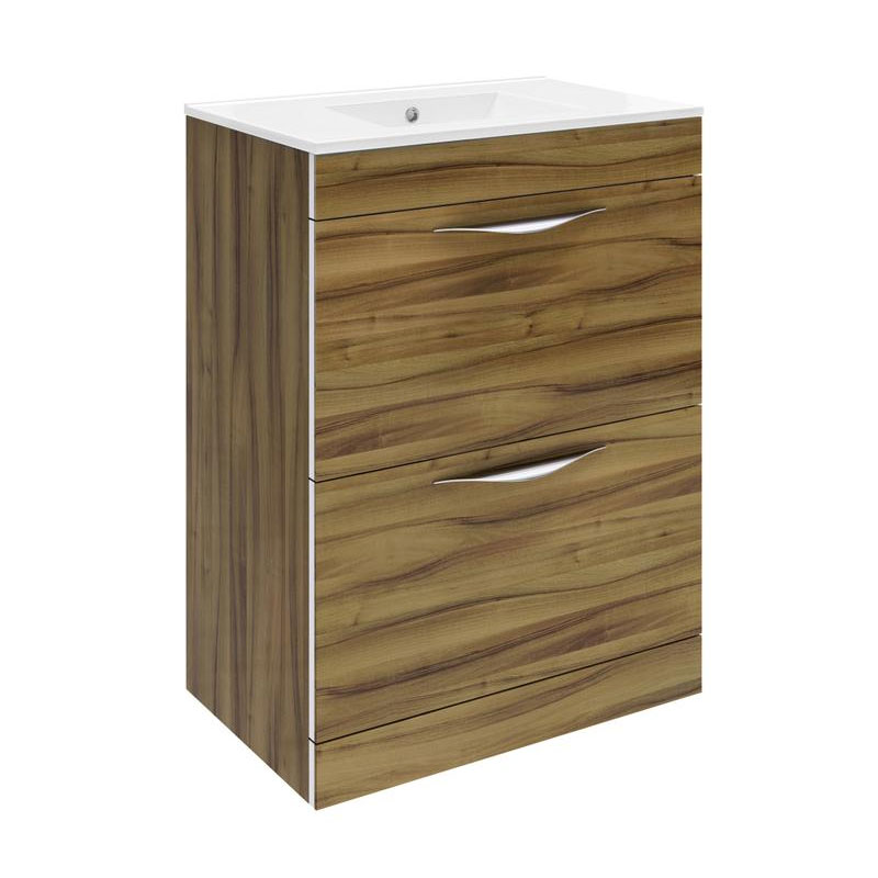 Hudson Reed Memoir 600mm 2 Drawer Floor Mounted Basin & Cabinet - Gloss Walnut - 2 Basin Options Lar