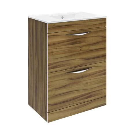 Hudson Reed Memoir 600mm 2 Drawer Floor Mounted Basin & Cabinet - Gloss Walnut - 2 Basin Options