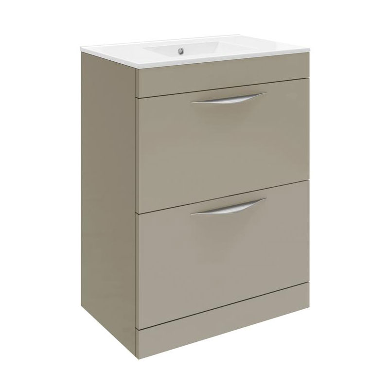 Hudson Reed Memoir 600mm 2 Drawer Floor Mounted Basin & Cabinet - Gloss Cashmere - 2 Basin Options Large Image