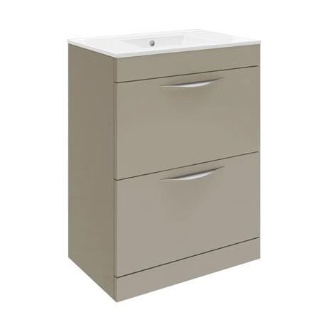 Hudson Reed Memoir 600mm 2 Drawer Floor Mounted Basin & Cabinet - Gloss Cashmere - 2 Basin Options