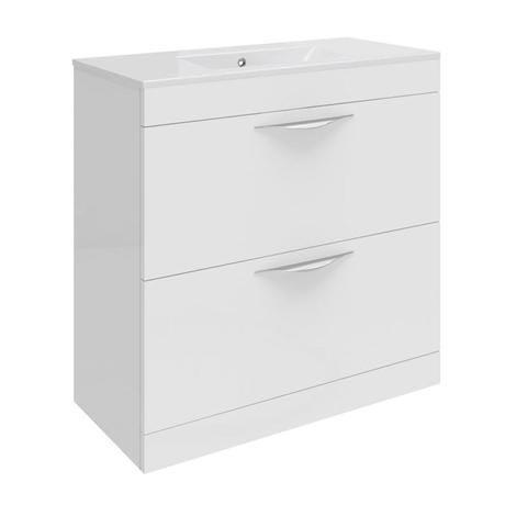 Hudson Reed Memoir 800mm 2 Drawer Floor Mounted Basin & Cabinet - Gloss White - 2 Basin Options
