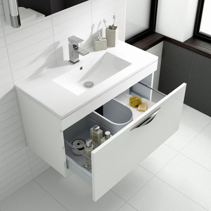 Hudson Reed Memoir 600mm 1 Drawer Wall Mounted Basin & Cabinet - Gloss White - 2 Basin Options profile large image view 3