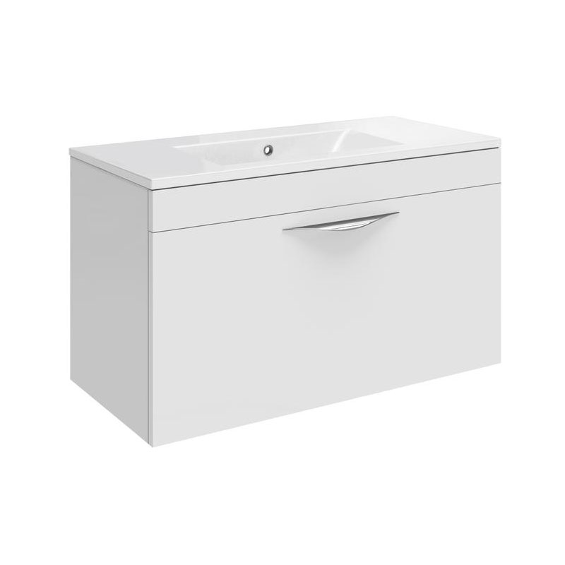 Hudson Reed Memoir 600mm 1 Drawer Wall Mounted Basin & Cabinet - Gloss White - 2 Basin Options Large