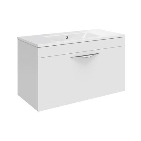 Hudson Reed Memoir 600mm 1 Drawer Wall Mounted Basin & Cabinet - Gloss White - 2 Basin Options