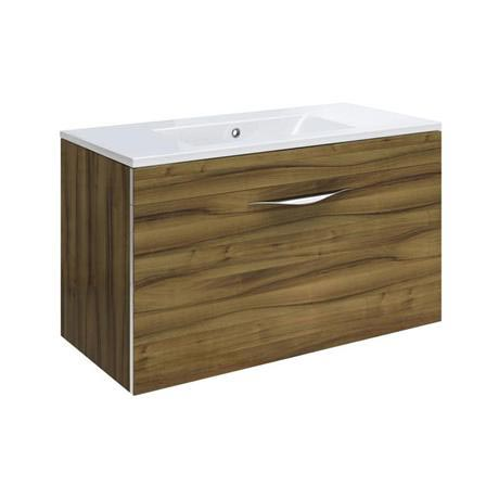 Hudson Reed Memoir 600mm 1 Drawer Wall Mounted Basin & Cabinet - Gloss Walnut - 2 Basin Options