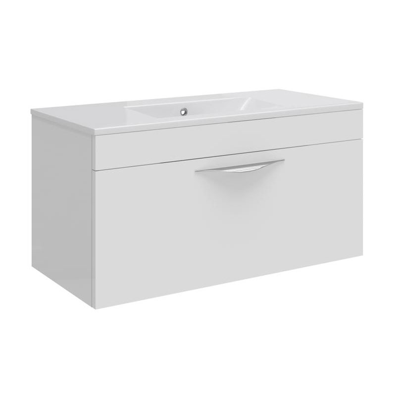 Hudson Reed Memoir 800mm 1 Drawer Wall Mounted Basin & Cabinet - Gloss White - 2 Basin Options Large Image