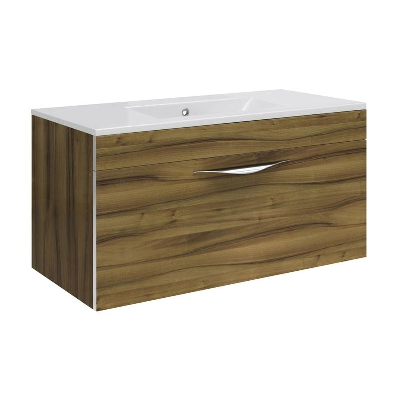 Hudson Reed Memoir 800mm 1 Drawer Wall Mounted Basin & Cabinet - Gloss Walnut - 2 Basin Options Large Image
