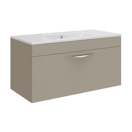 Hudson Reed Memoir 800mm 1 Drawer Wall Mounted Basin & Cabinet - Gloss Cashmere - 2 Basin Options