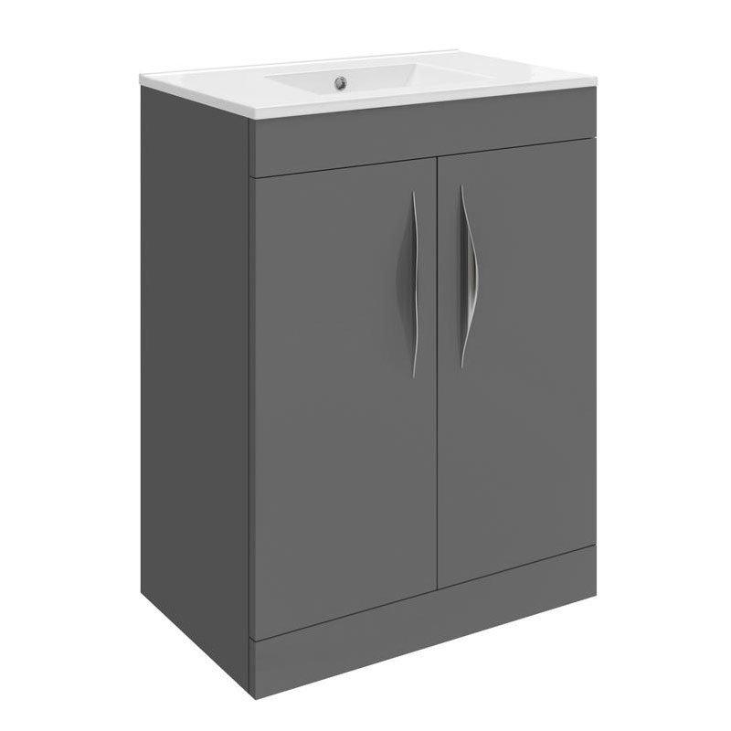 Hudson Reed Memoir 600mm 2 Door Floor Mounted Basin & Cabinet - Gloss Grey - 2 Basin Options Large Image