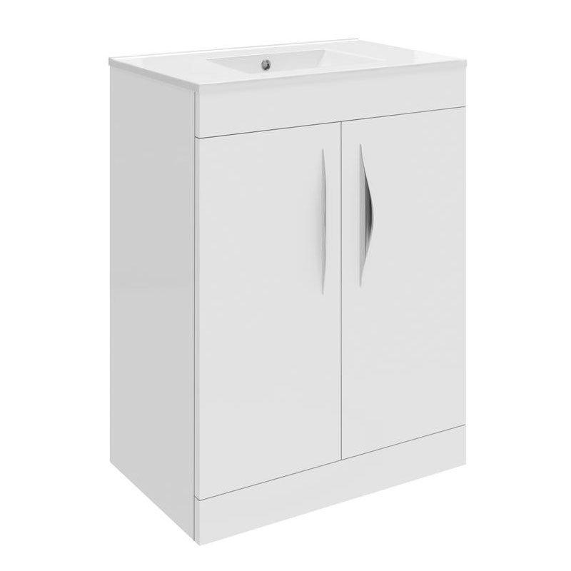 Hudson Reed Memoir 600mm 2 Door Floor Mounted Basin & Cabinet - Gloss White - 2 Basin Options Large Image