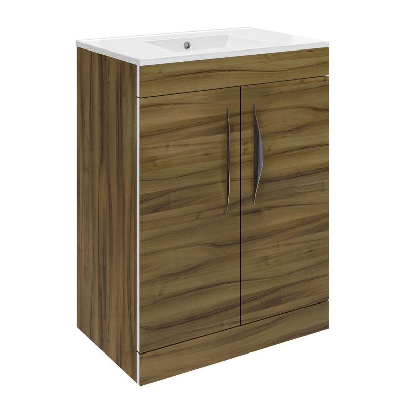 Hudson Reed Memoir 600mm 2 Door Floor Mounted Basin & Cabinet - Gloss Walnut - 2 Basin Options Large Image